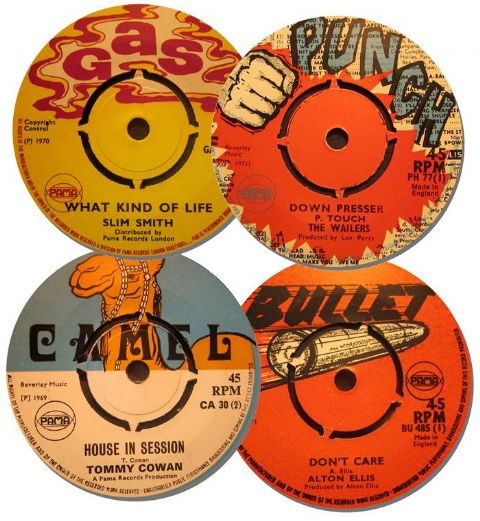 Reggae Record Label Coasters Set Of 4. High Quality Cork Backed Music Gift. Pama